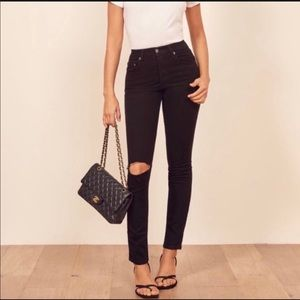 Reformation Serena jeans black destroyed